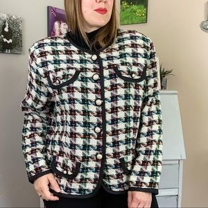 Vintage Chanel Vibes Houndstooth Cropped Coat